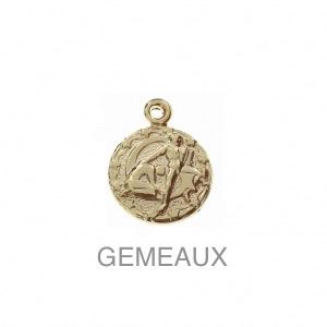 im-Breloque-astrologique-signe-du-zodiaque-Gemeaux-13-mm-Plaque-Or-3-microns-x1